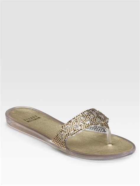 jelly flat sandals stuart weitzman one the rocks jeweled jelly flat sandals