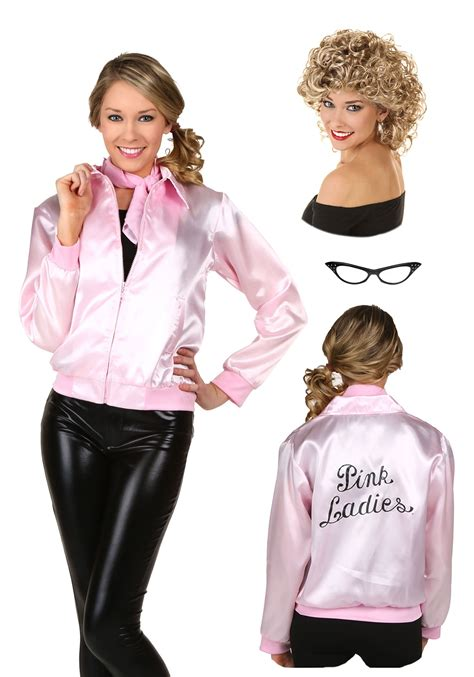 pink lady womens grease pink ladies jacket and sandy wig