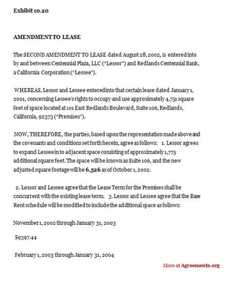 amendment  construction department lease agreement