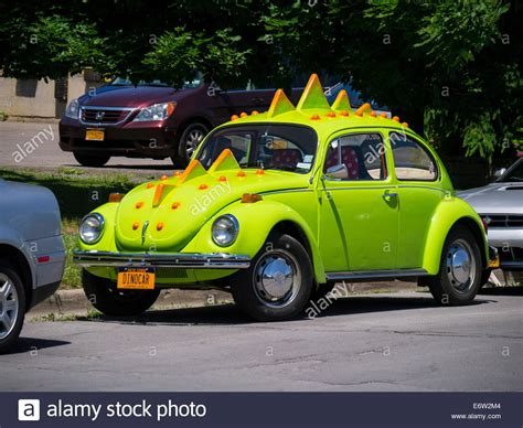 volkswagen beetle modified volkswagen beetle modified to look like dinosaur stock