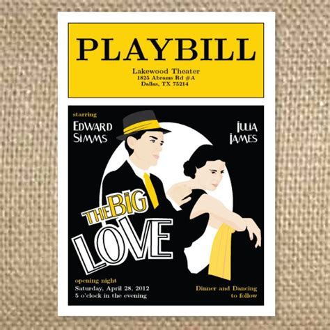 Playbill Theater Wedding Invitation 3 50 Via Etsy Getting M Worded Pinterest Weddings Playbill Program
