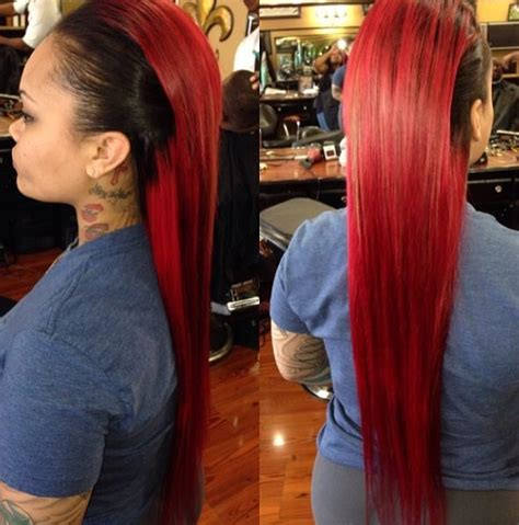 sewing hair weave for a mohawk half red and black dyed hair love this urban