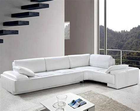White Leather Modern Design Sectional Sofa Set 44l0738 White Modern Sectional Sofa