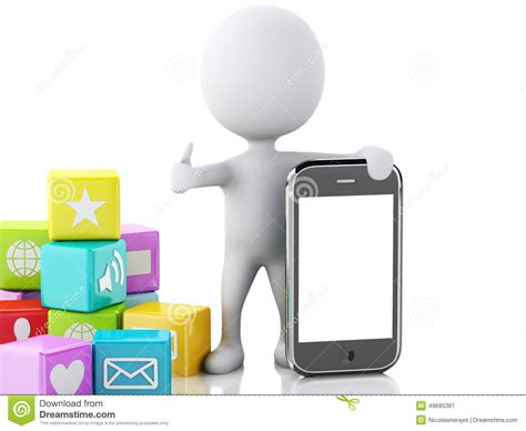 3d people with mobile phone and app icons on white