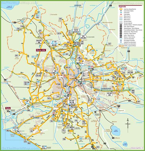 map of and surrounding areas transport map of rome and the surrounding area