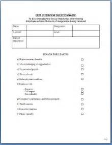 questionnaire form template exit questionnaire form