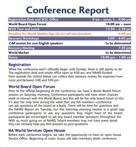 7 Sle Conference Agenda Templates To Download Sle Templates Trip Report Template