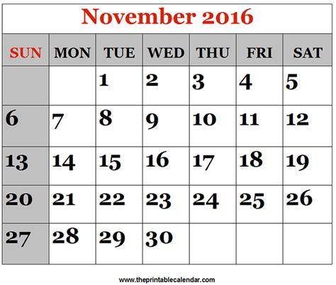 Kalender 2016 Nov November 2016 Printable Calendars