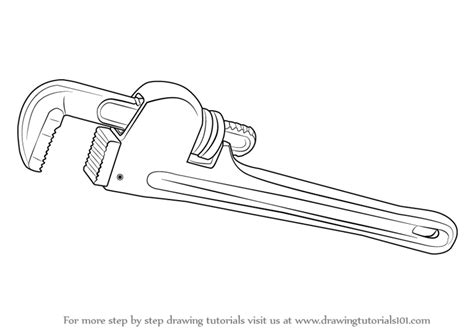 simple drawing tool learn how to draw pipe wrench tools step by step