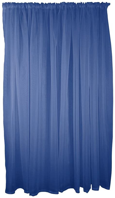 Blue Swag Curtains Navy Blue 5 Voile Set Rod Pocket Curtains Drapes Swags 4 Sizes Ebay