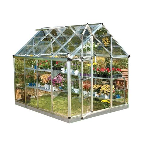 green houses home depot palram snap and grow 6 ft x 8 ft silver polycarbonate greenhouse 701273 the home depot