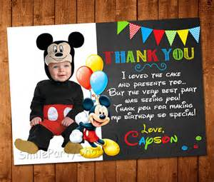 mickey mouse thank you card personalized digital by smileparty