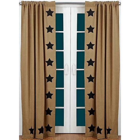 primitive panel curtains burlap black stencil star curtain panels primitive home