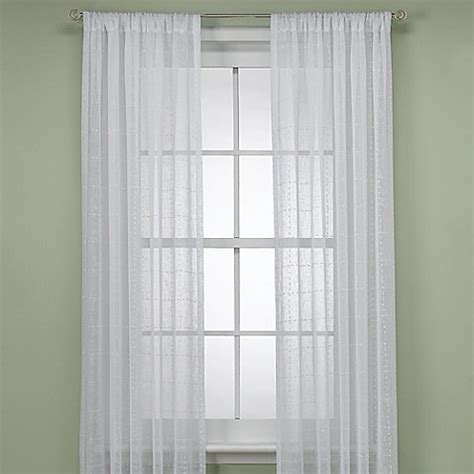 Curtains 95 Inches Aruba 95 Inch Window Curtain Panel In White Bed Bath Beyond