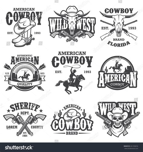 set vintage cowboy emblems labels badges stock vector
