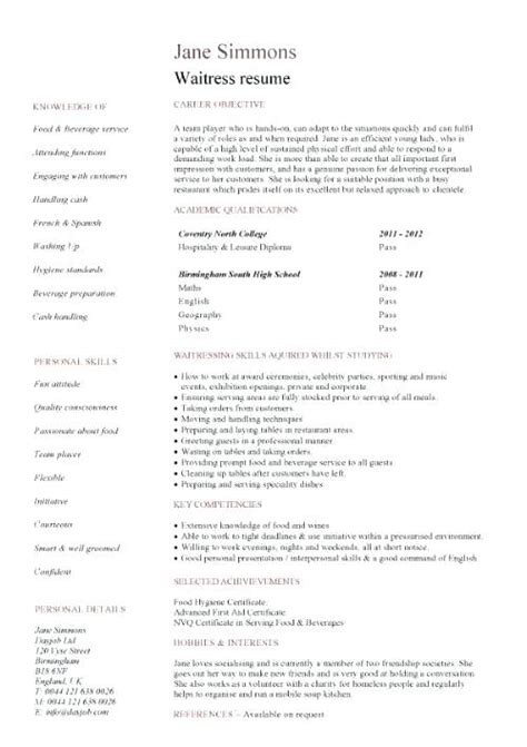 no experience waitress resume sle cover letter no experience waitress cover letter
