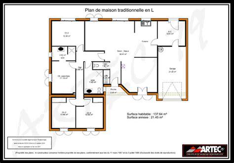 plan maison plain pied en l 4 chambres plan maison 100m2 4 chambres