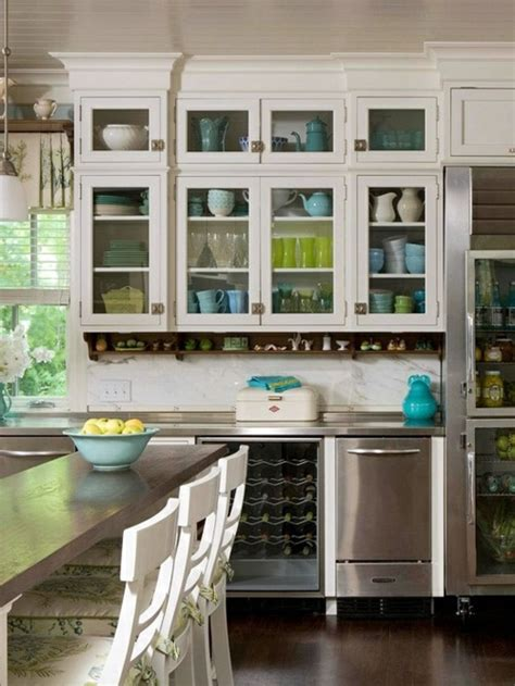 china cabinet and glass display for a bright kitchen