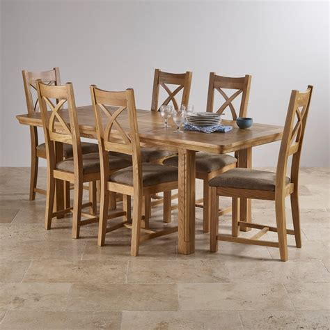 Oak Dining Suite Table Four Canterbury Extending Dining Set Table 6 Fabric Chairs