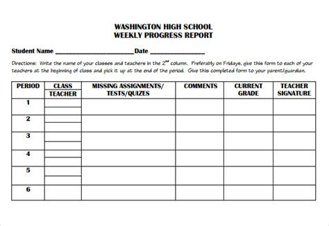 Weekly Progress Report Template Middle School Weekly Progress Report Template For Academic Or Elementary