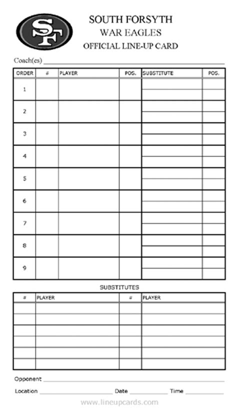 printable baseball lineup card template free printable baseball lineup template search results