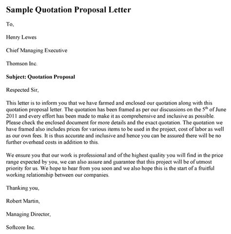 Office Rent Quotation Letter Sle Quotation Letter