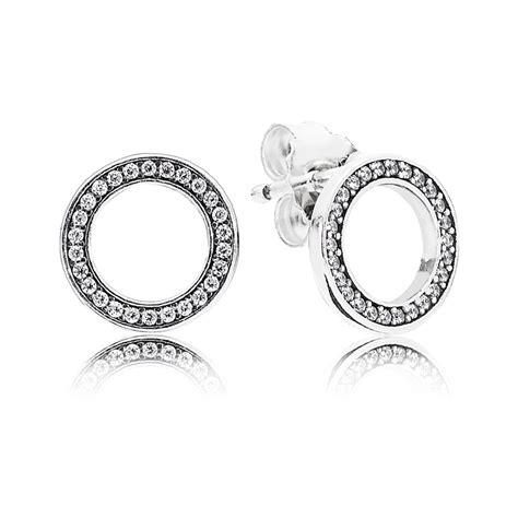 pandora silver cubic zirconia circle earrings 290585cz