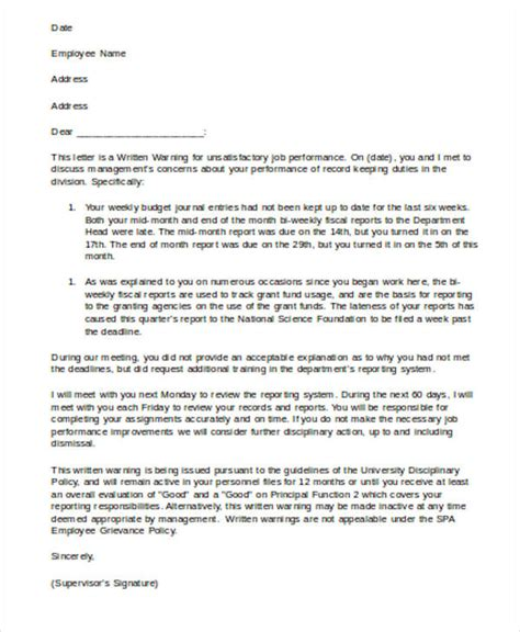 Appraisal Delay Letter 6 work warning letter template free word pdf format