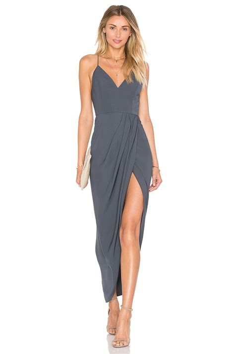draped gowns shona joy stellar drape dress in gray lyst
