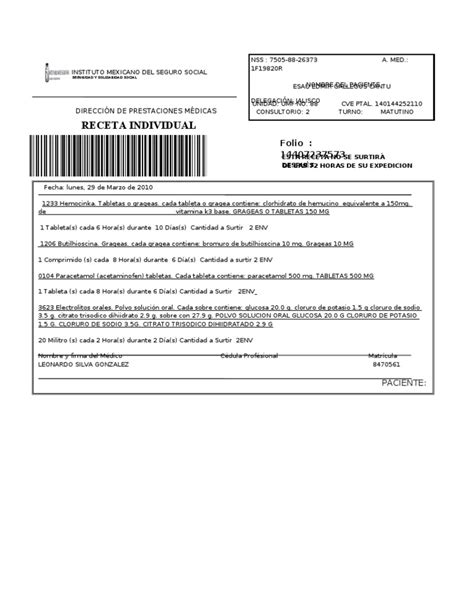 descargar receta medica del imss formato editable zonambuloz receta imss