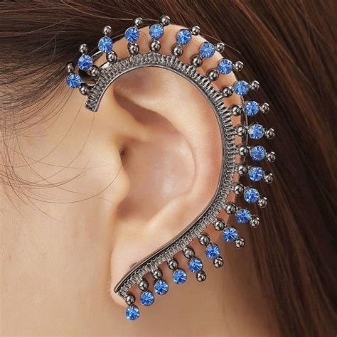 ear cuff wrap earrings rhinestone left cuff earrings