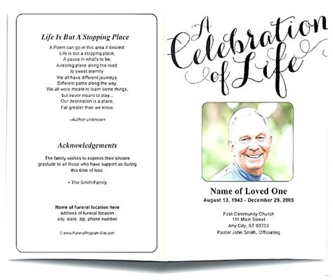 Free Celebration Of Life Program Template Free Celebration Of Life Program Template Creative Celebration Of Template Free
