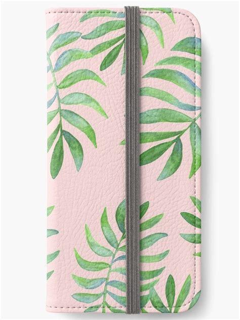 Leaf Wallet Pink watercolor tropical palm leaf pattern pink background