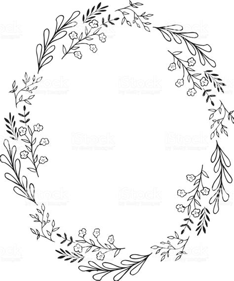 Oval Wreath Of Flowers And Herbs Black Silhouette Vector Card Template Stock Vector Art More Wreath Template