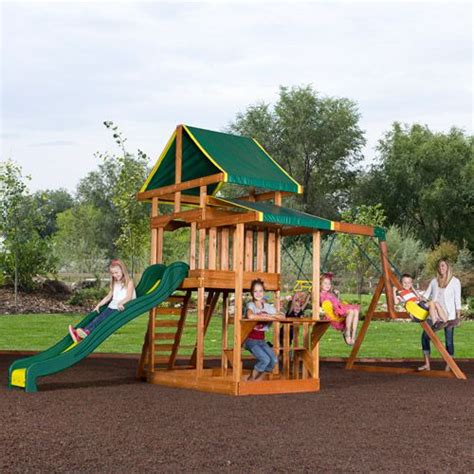backyard wooden swing set backyard discovery pathfinder ii cedar wooden swing set