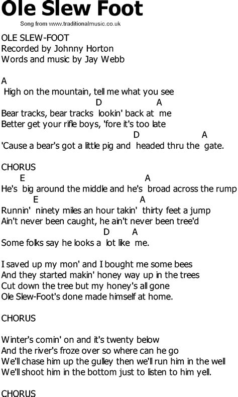 old country song lyrics with chords ole slew foot - Slew Foot Song