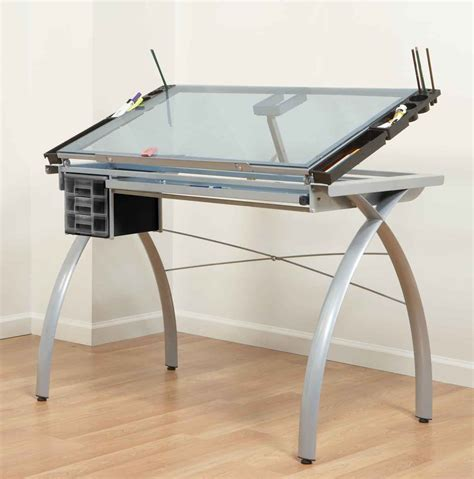 White Drafting Table For Modern Look Office Architect Glass Drafting Table With Light