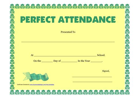 best photos of free printable perfect attendance templates