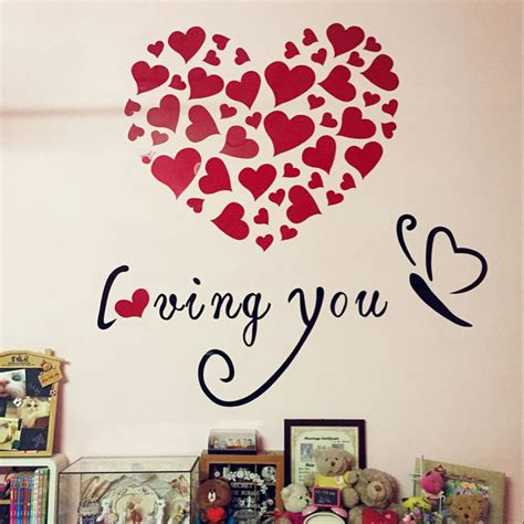 aliexpress com buy heart 3d wall stickers pink love popular valentine wall decor buy cheap valentine wall