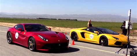 Lamborghini Vs Ferrari by Ferrari F12 Vs Lamborghini Aventador Roadster The