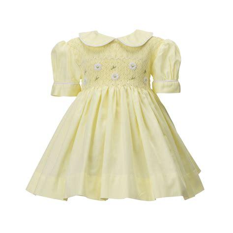 Handmade Smocked Dresses - baby yellow smocked dress
