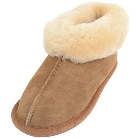 sheepskin slippers childrens sheepskin slippers with wool cuff chestnut snugrugs