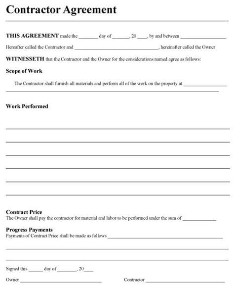 Contractors Agreement Template Sle Contractor Agreement Contract Template Word 2003