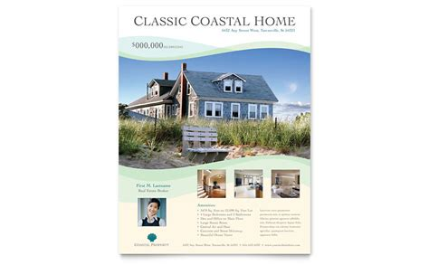real estate listing flyer template coastal real estate flyer template word publisher