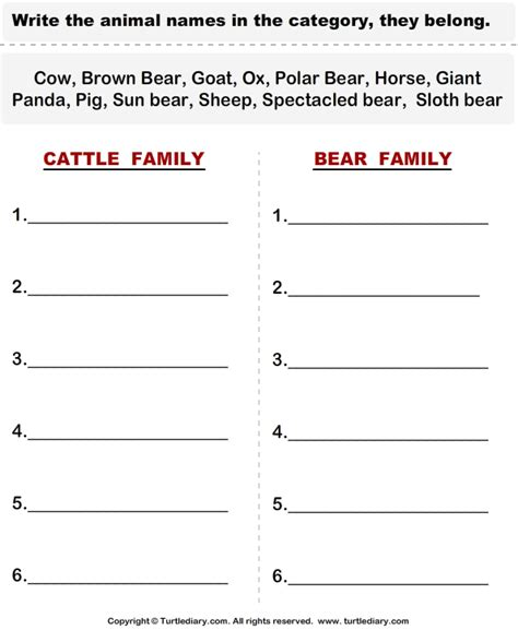 cattle animals worksheet turtle diary