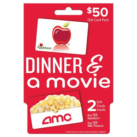 Dinner And A Movie Gift Cards - 50 dinner and a movie gift card pack bj s wholesale club
