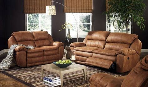 rustic leather sofa and loveseat relaxing brown living room decorating ideas with dark