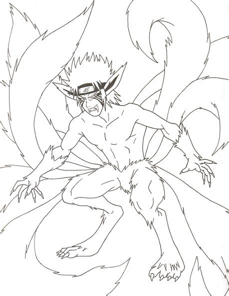 naruto 9 tails fox free coloring pages
