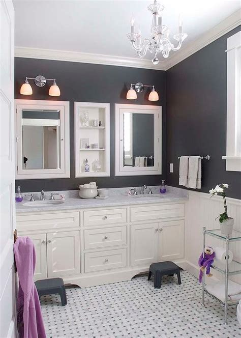Purple And White Bathroom White And Gray Bathroom With Personalized Step Stools Cottage Bathroom
