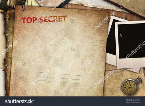 vintage composition top secret folder papers stock
